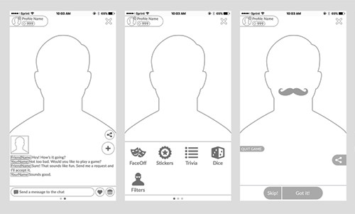 Face Off minigame wireframes